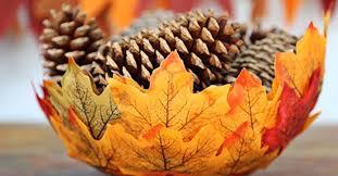 کاردستی با برگ درخت انگور به شکل سبد پاییزی